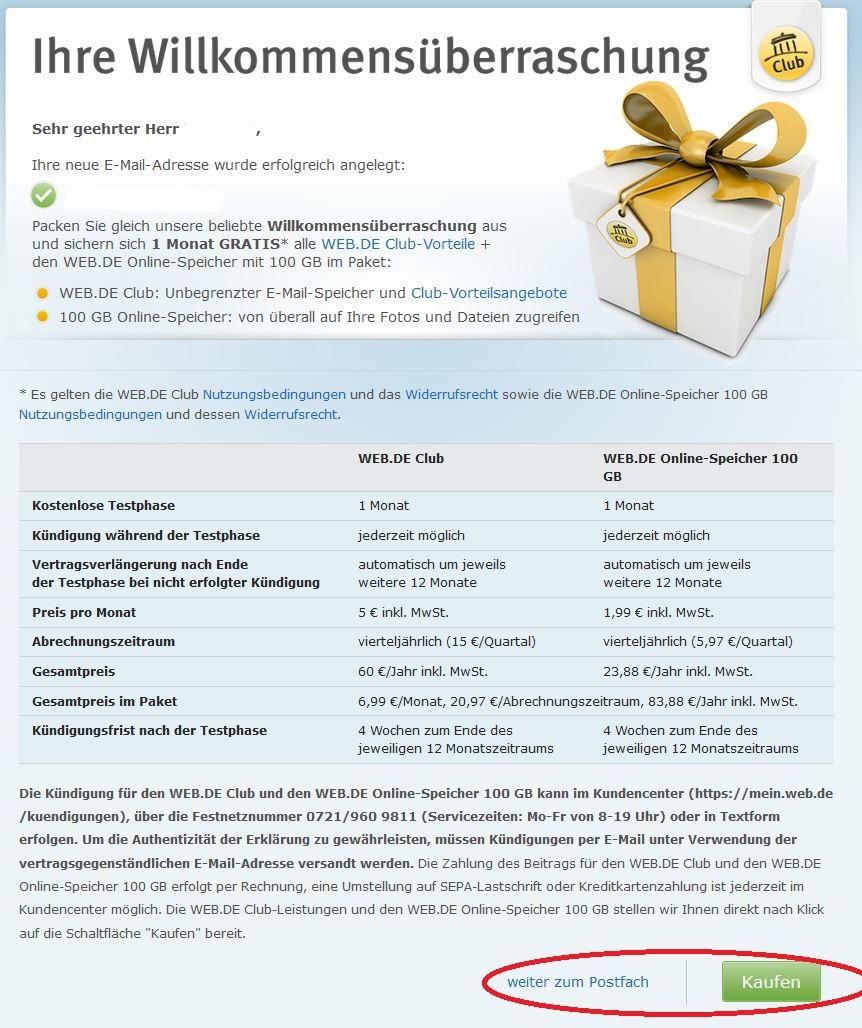 Vorsicht Falle - ein Klick un man hat ein Claub-Abo bei Web.de