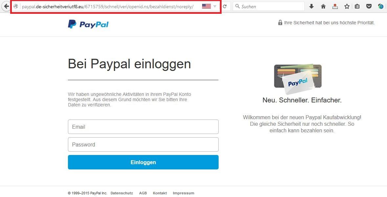 Fälschung der PayPal Seite