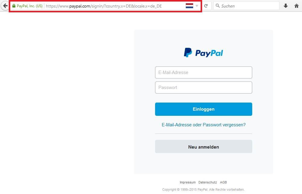 Original-Seite von PayPal