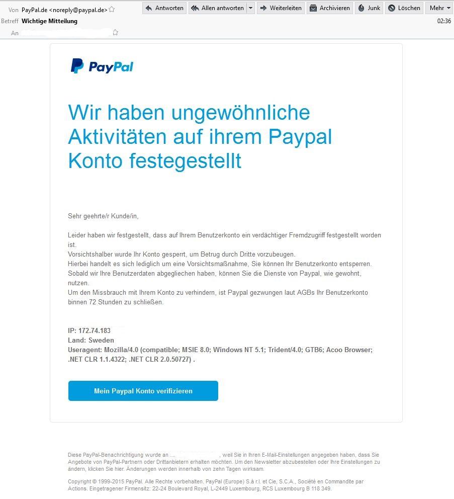 PayPal Phishing - ungewöhnliche Aktivitäten