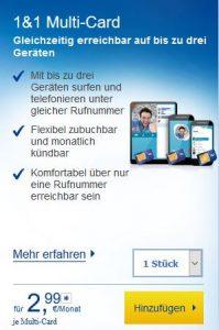 1&1 MultiSIM Karte bestellen