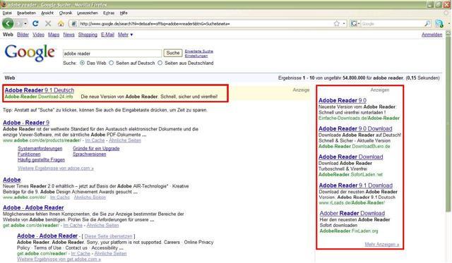 Screenshot einer Google-Suche. Rot markiert: Werbeanzeigen bei Google.