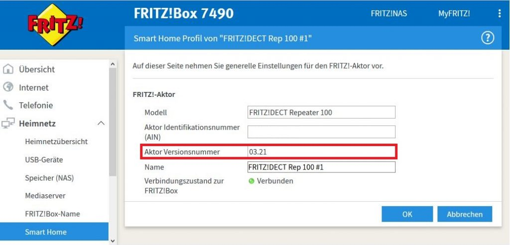 Fritz!DECT Repeater in der Smart Home Ansicht