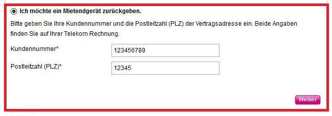 Im Telekom Retourenportal können Sie eine Bestellung oder ein Mietgerät zurückgeben. Wir wählen das Mietendgerät.