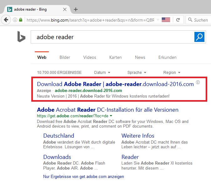 Bing Suchergebnis mit fragwürdiger Werbung