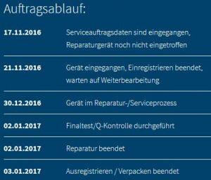 Samsung Reparatur-Auftragsstatus