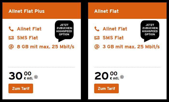 congstar AllNet Flat LTE Angebot Highpeed-Option