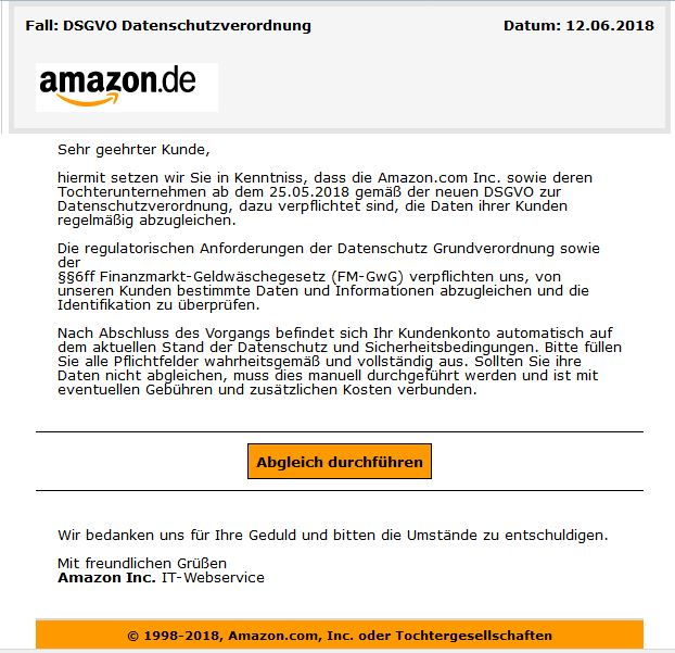 Amazon DSGVO Phishing Email